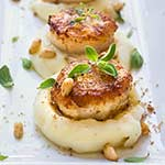 Seared scallops over parsnip puree | www.viktoriastable.com