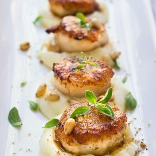 Seared scallops over parsnip purée